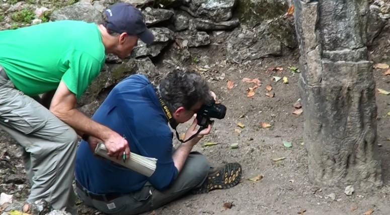 Joe Orr, David Stuart examine speleothem glyphs at Structure 33, Yaxchilan, 2012.