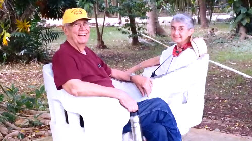 George and Melinda Stuart enjoying the gardens around the entrance to Balankanche Caves.